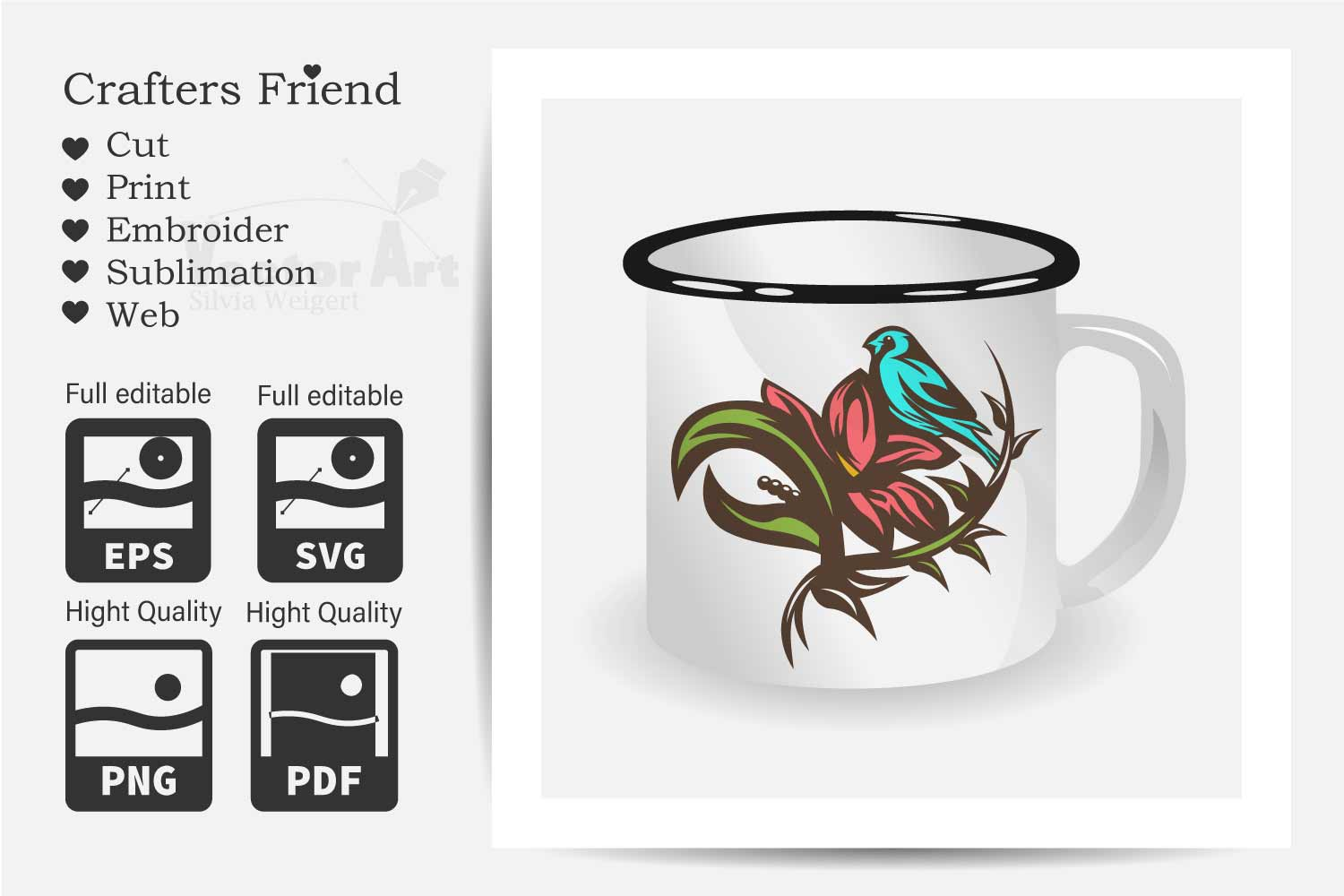 Flower with Bird - Print and Cut example image 2