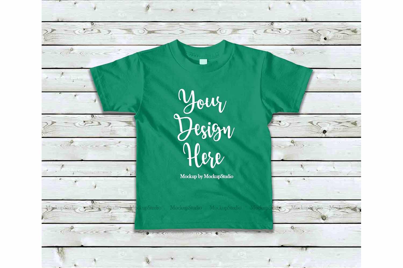 Kids Kelly Green Tshirt Mockup, Toddler Shirt Flat Lay Mock example image 1