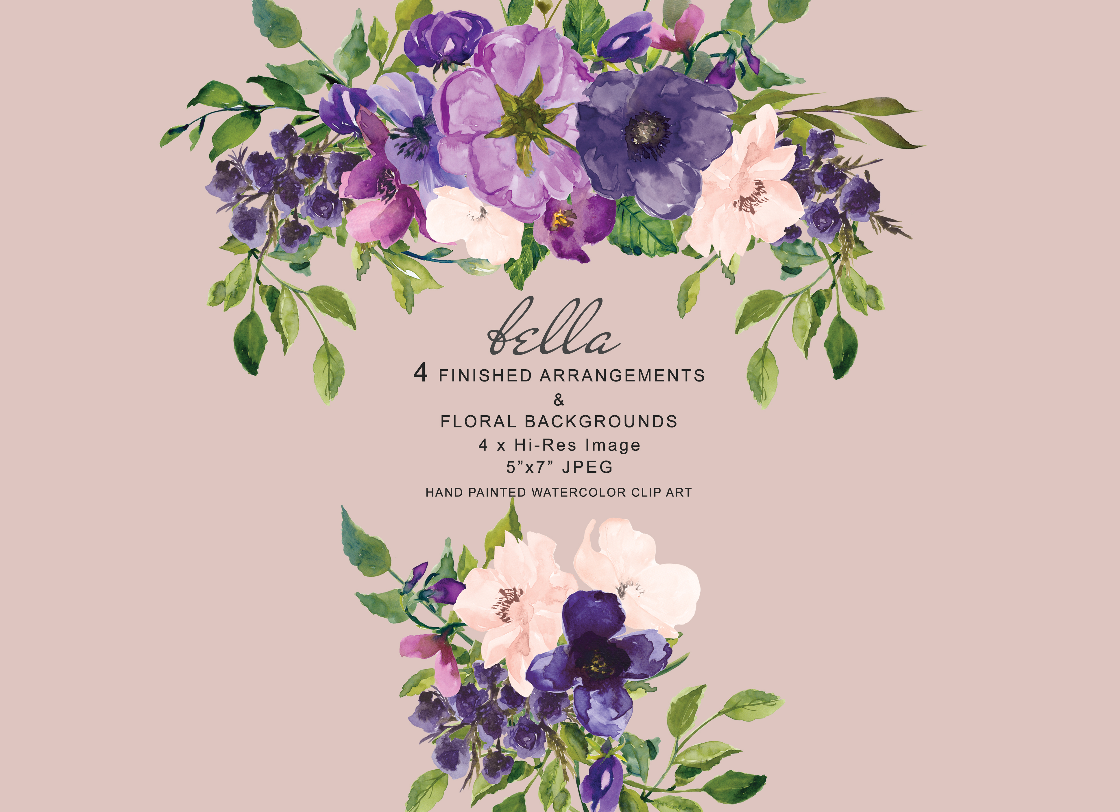 Watercolor Purple And Blush Pink Fl Arrangements Clipart Example Image 1