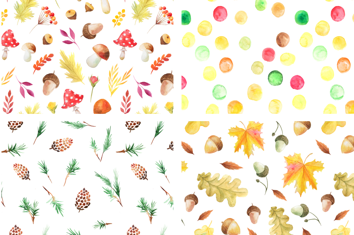 Watercolor Autumn Patterns Vol.2 example image 3