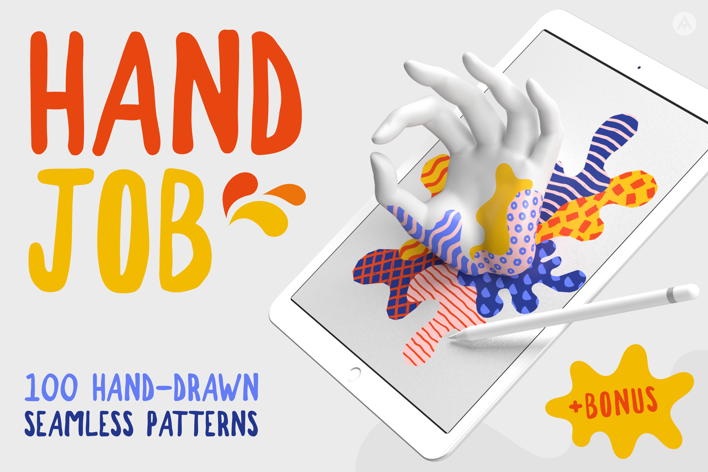 100 Hand-drawn seamless patterns collection example image 1