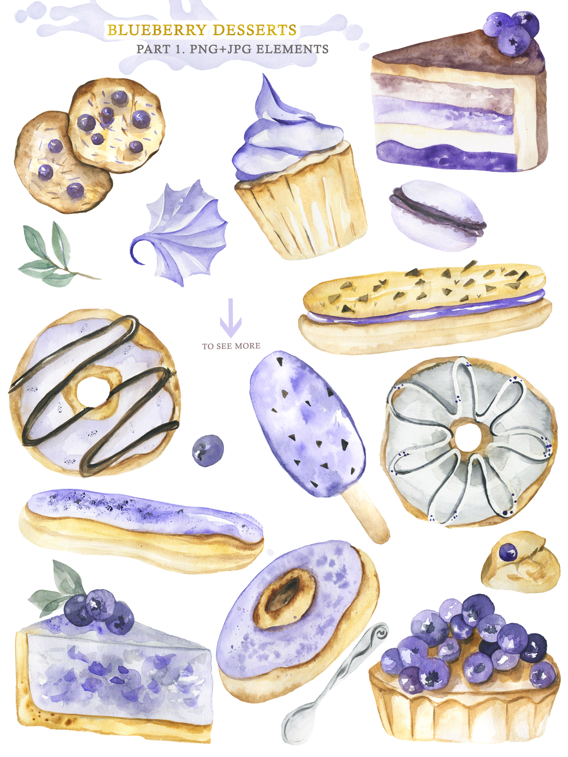 Watercolor collection of Blueberry Desserts example image 2