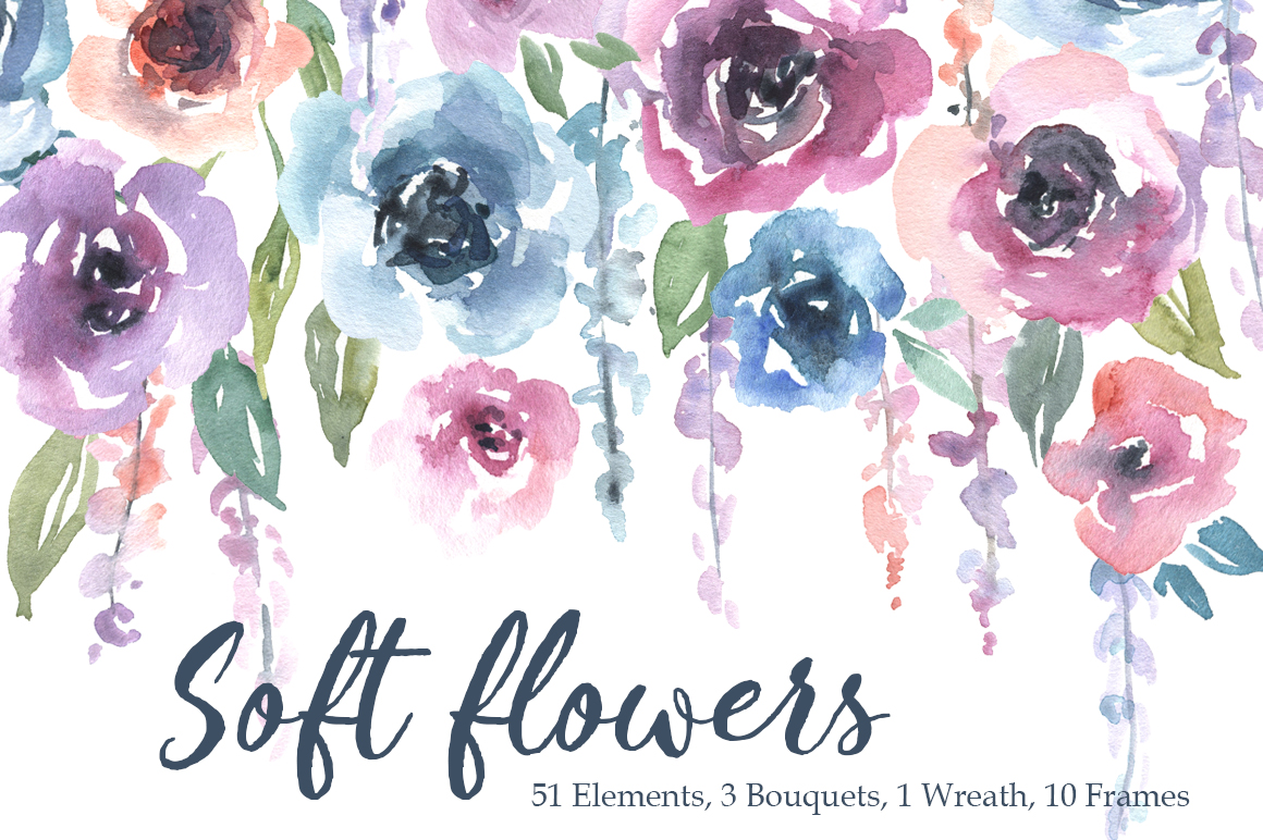 Watercolor Pink Blue Flowers Bouquets Frames