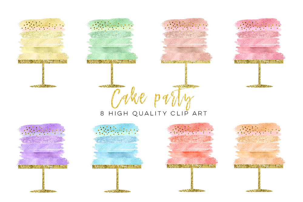 cake parose gold cake clip art,rty clip art, confetti cake party clip art, Birthday clipart set watercolor, gold foil, rose gold wedding example image 2