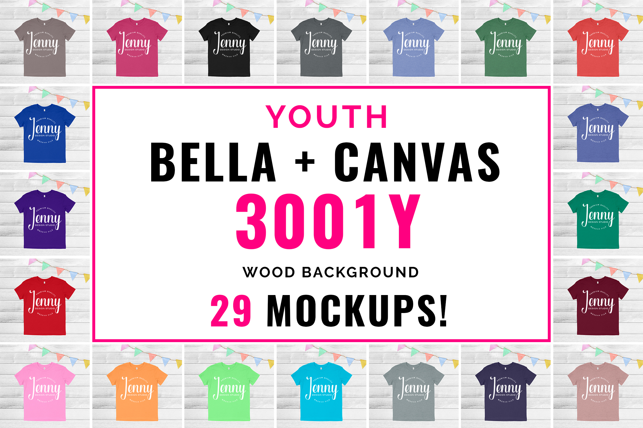 Bella Canvas 3001Y Youth Unisex Mockup Bundle example image 1
