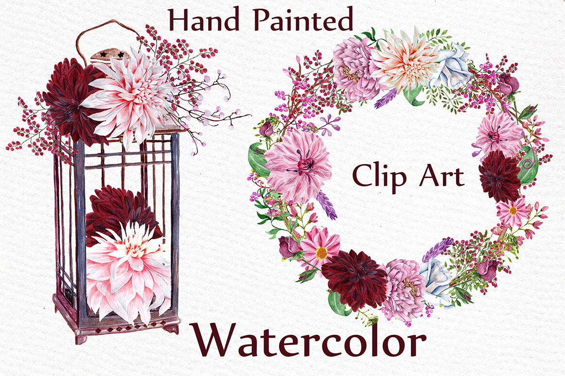 Watercolor wedding clipart example image 3