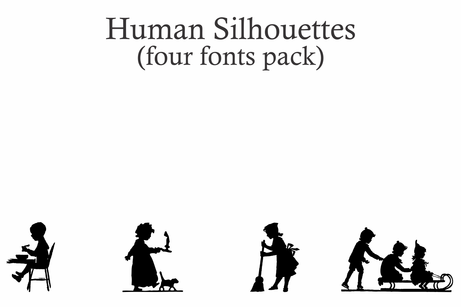 Human Silhouettes Pack - 4 Fonts example image 5