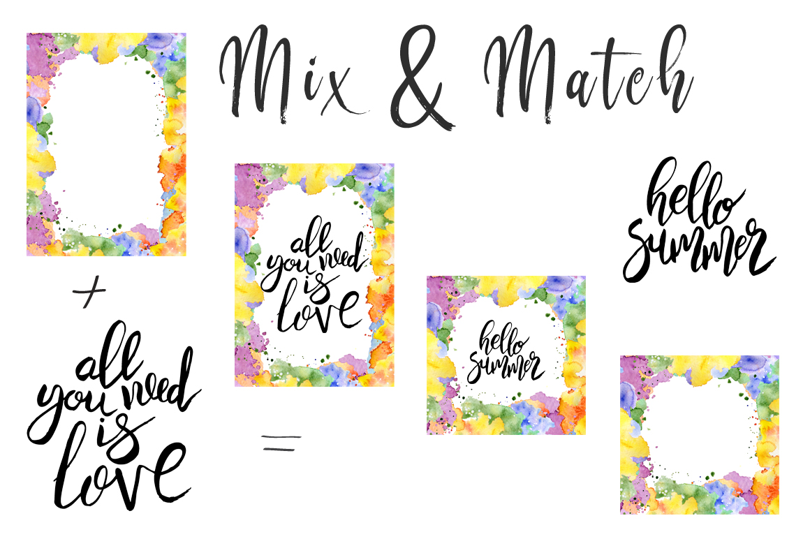 Hand drawn watercolor Inspirational quotes DIY pack example image 19