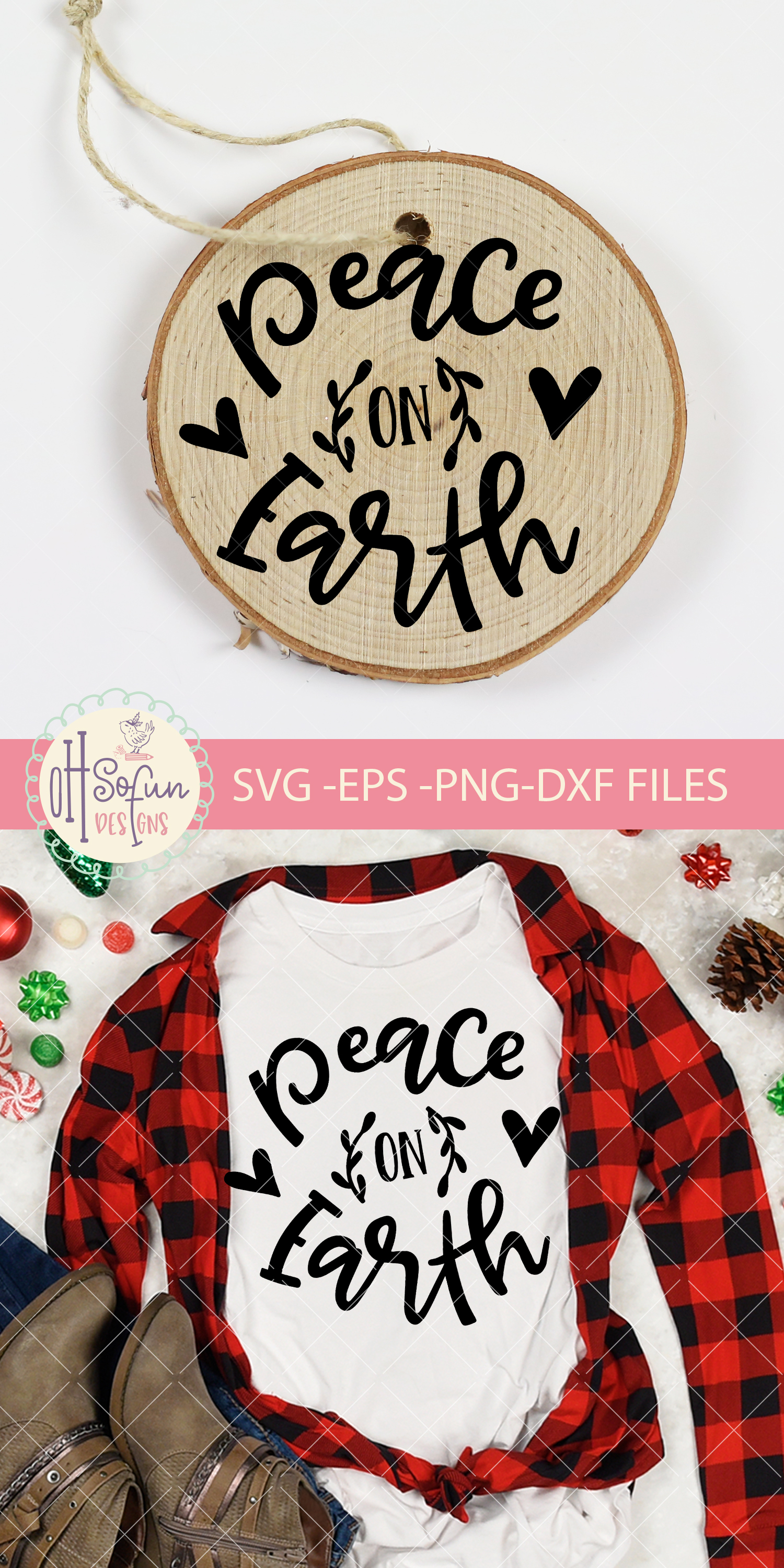 Peace on earth, hand lettering Christmas ornament SVG example image 2