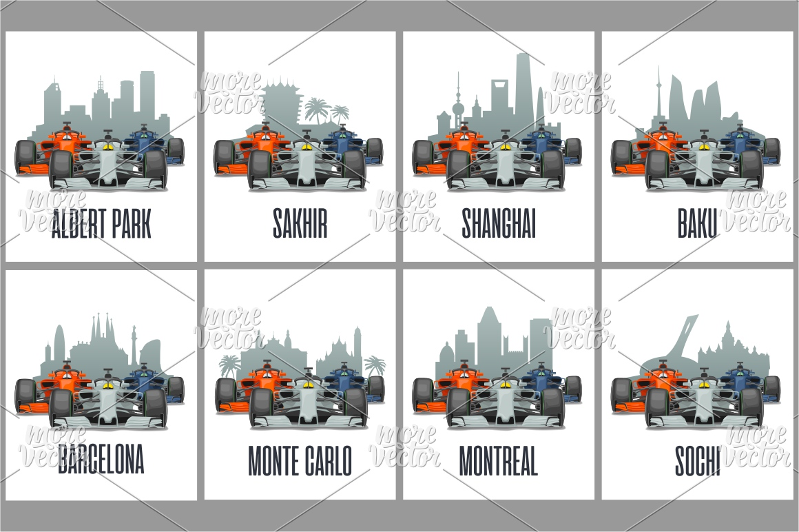Bahrain, Sakhir, Barcelona, Spain, Shanghai, China, Melbourne, Australia, Baku, Montreal, Sochi, Monte Carlo, Cityline and cars on Grand Prix example image 1