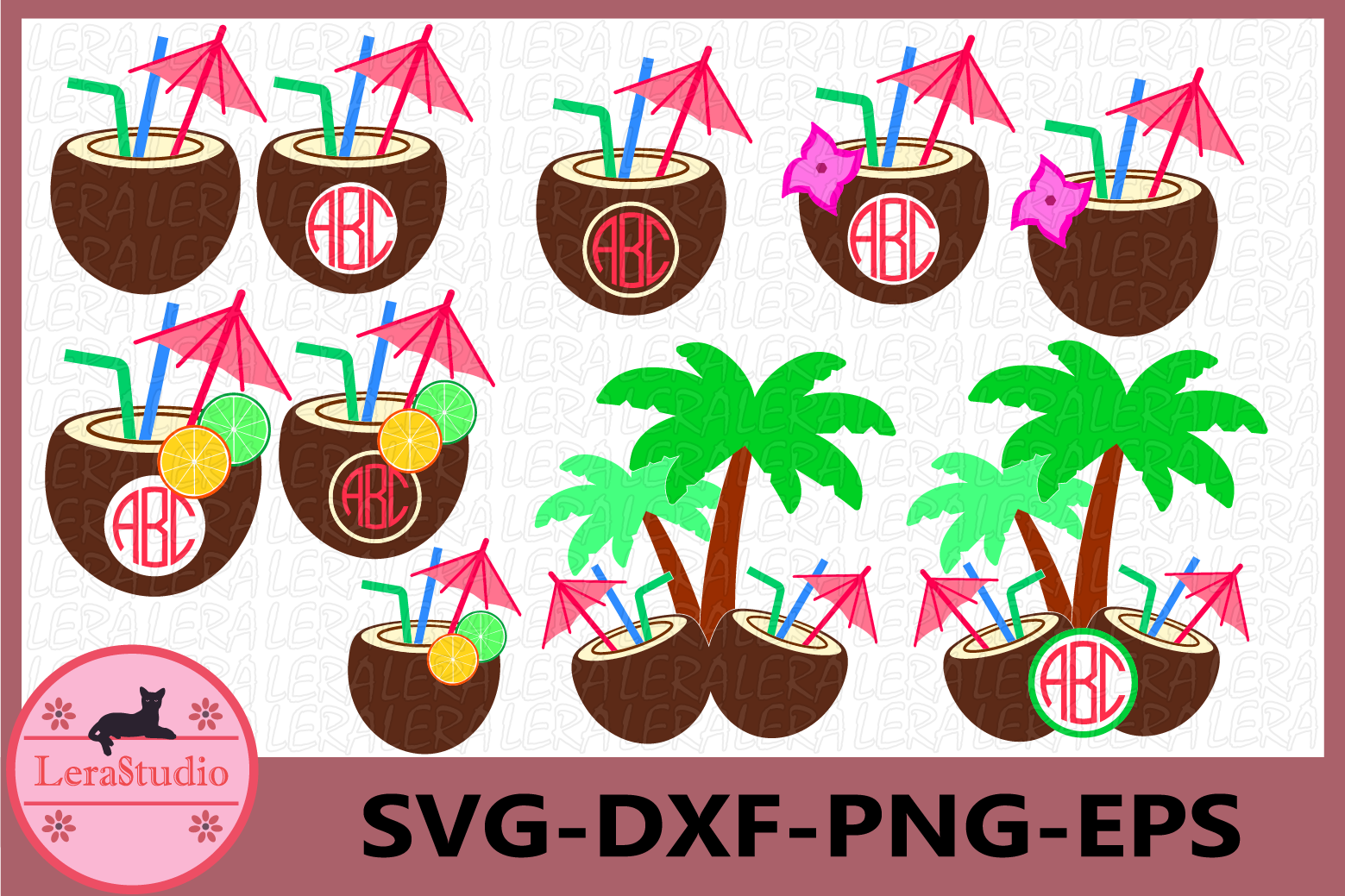 Coconut Svg, Coconut Monogram SVG, Tropical Svg, Coconut svg example image 1