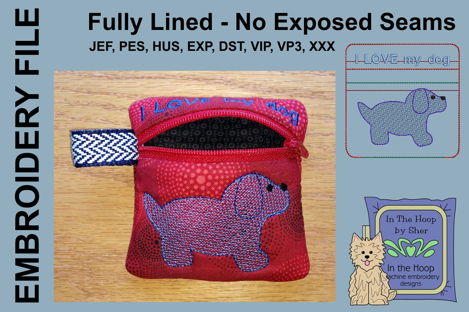 Puppy Mini Zipper Bag / Fully Lined, 4X4 HOOP example image 2