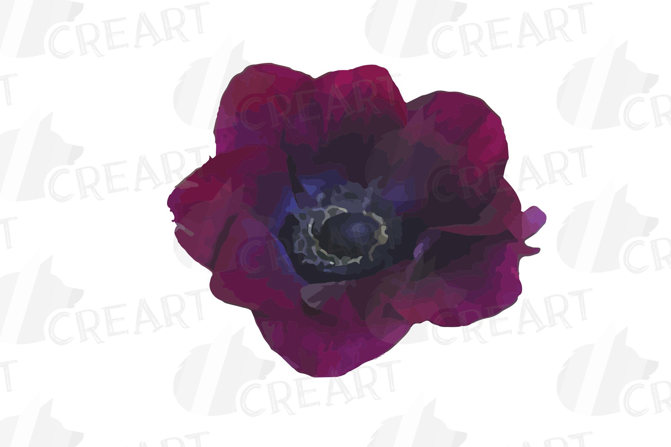 Anemone watercolor clip art pack, watercolor anemone design example image 6
