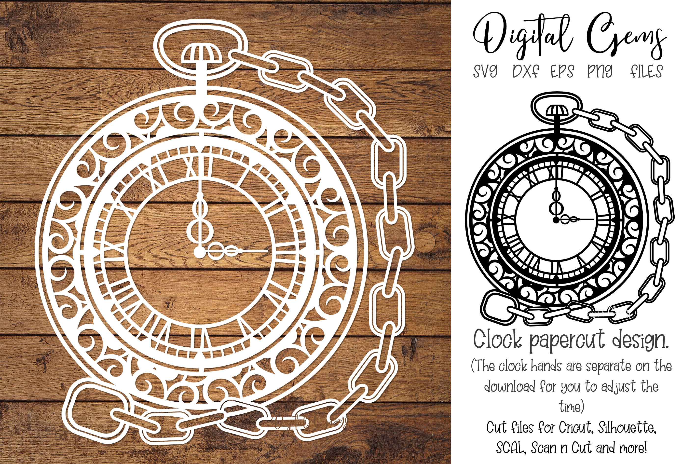 Pocket watch papercut design SVG / EPS / DXF / PNG Files example image 1