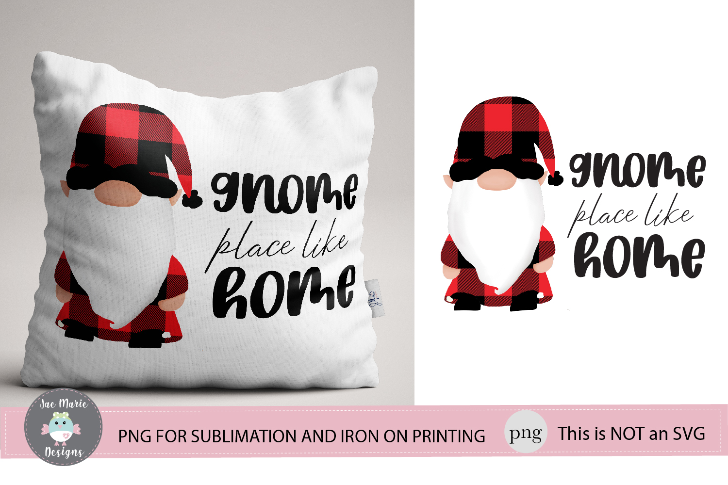 Gnome Place like home sublimation, christmas png, decor png example image 1