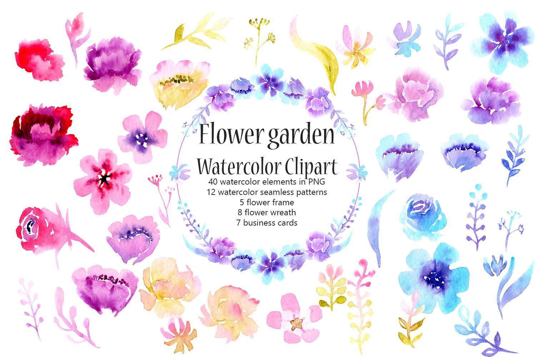 Flower garden Watercolor Clipart example image 1