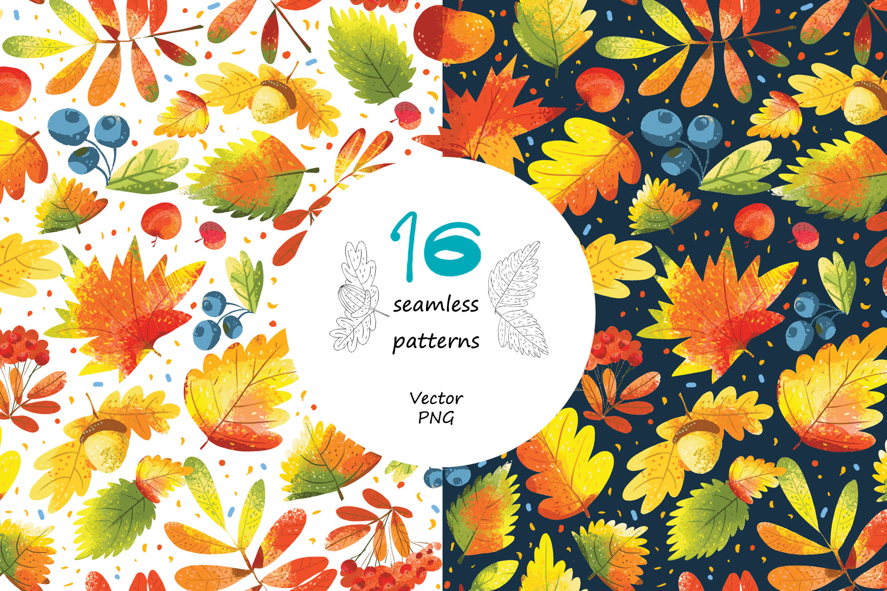 Autumn Leaves - over 30 objects, frames, patterns example image 5