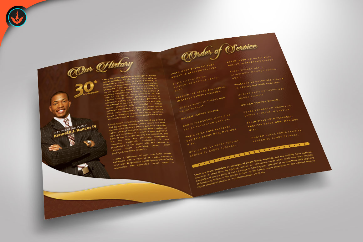 Gold Pastor's Anniversary Program Photoshop, Word, Publisher example image 2
