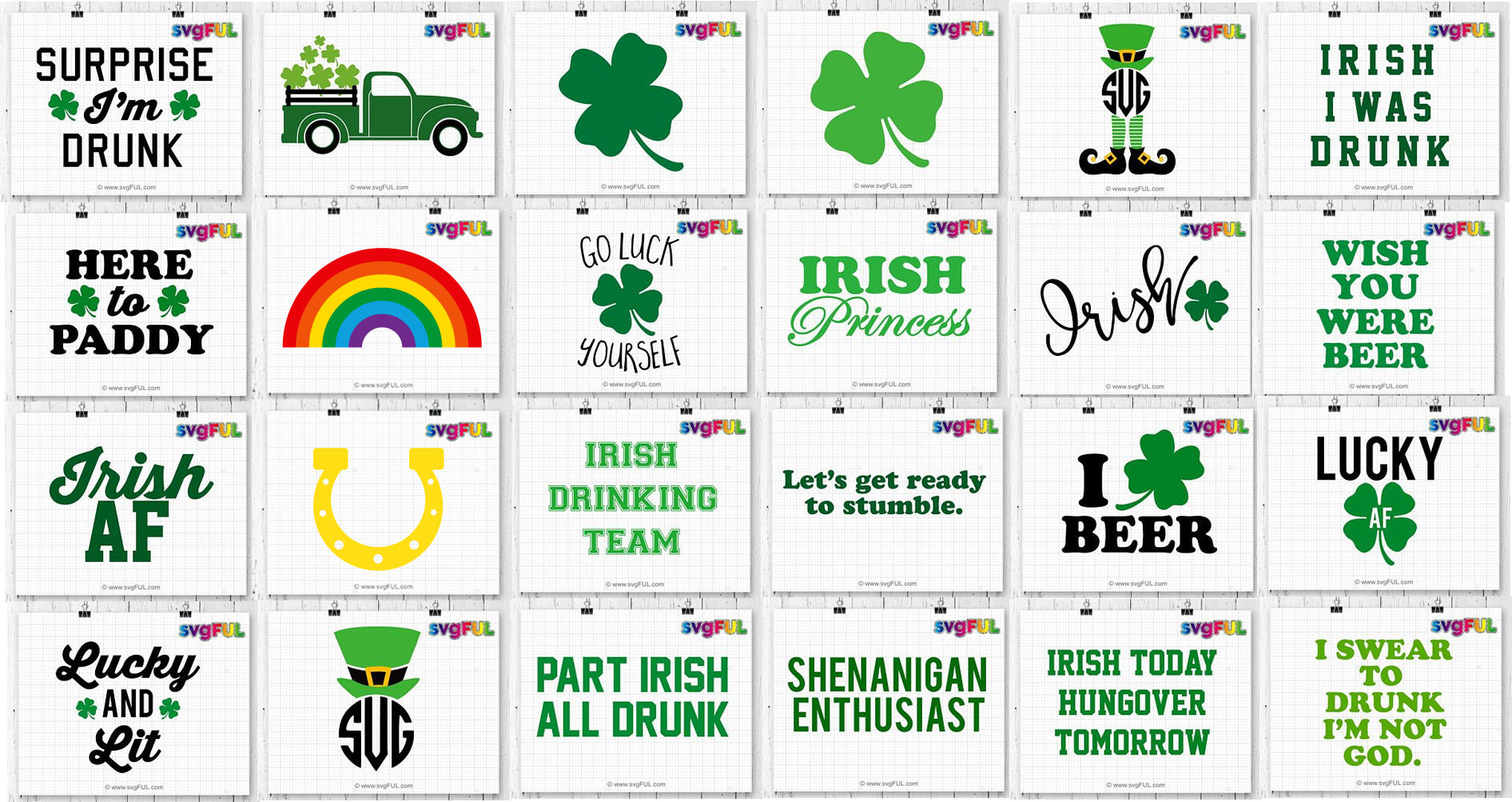 St Patricks Day Lucky Craft Bundle Svg Dxf Clipart Printable example image 2