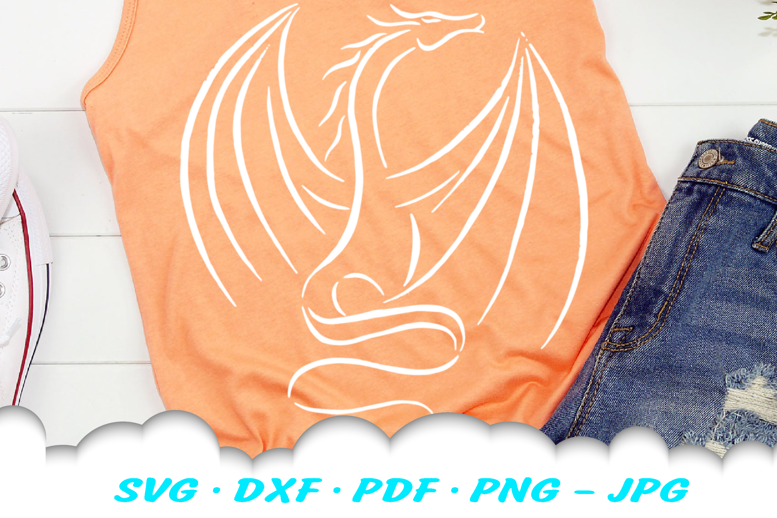 Tribal Dragon SVG DXF Cut Files example image 2
