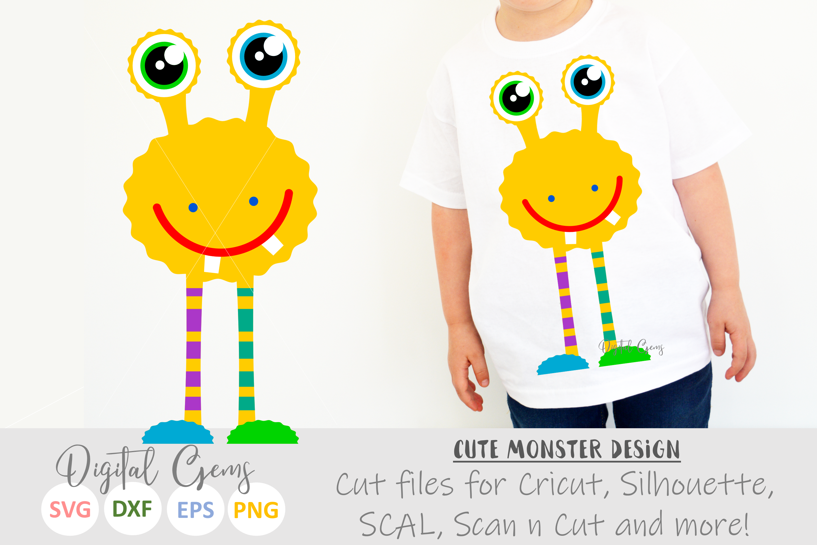 Monster SVG / EPS / DXF / PNG files example image 1