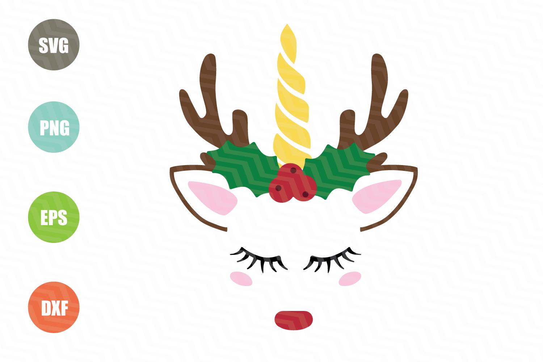 Christmas Unicorn SVG example image 1