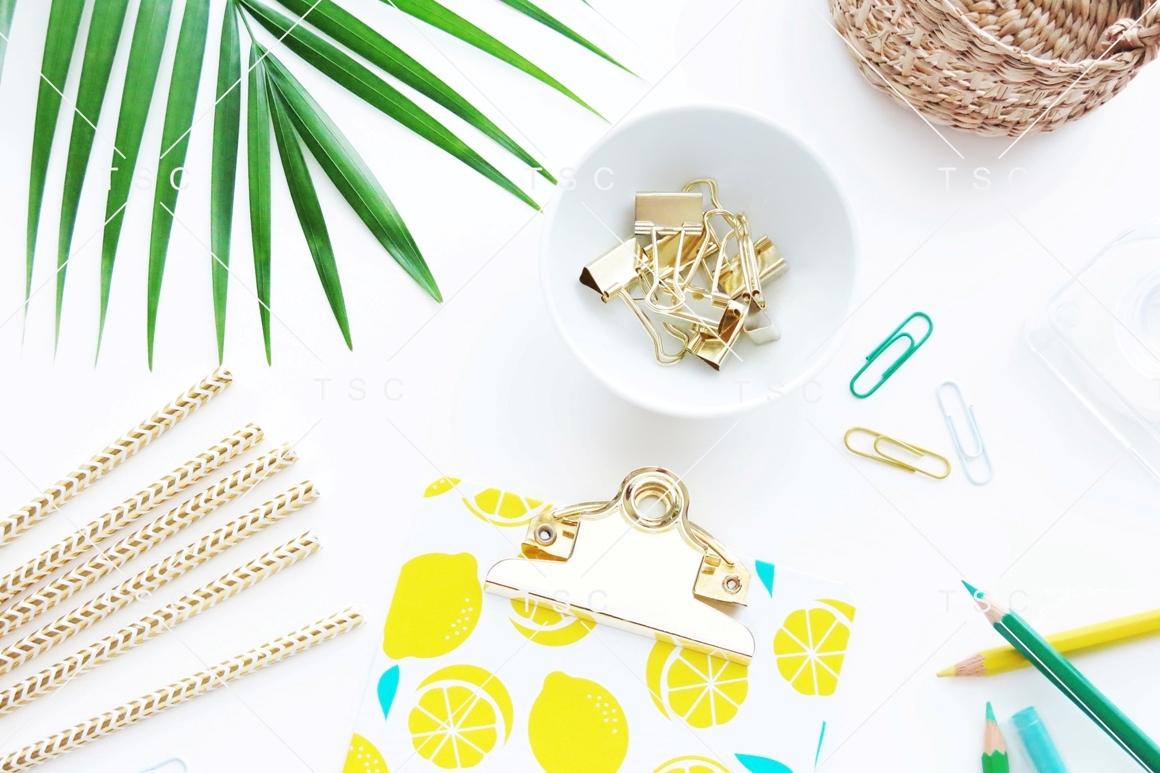 Gold Stationery & Palm Leaf Stock Photo example image 1