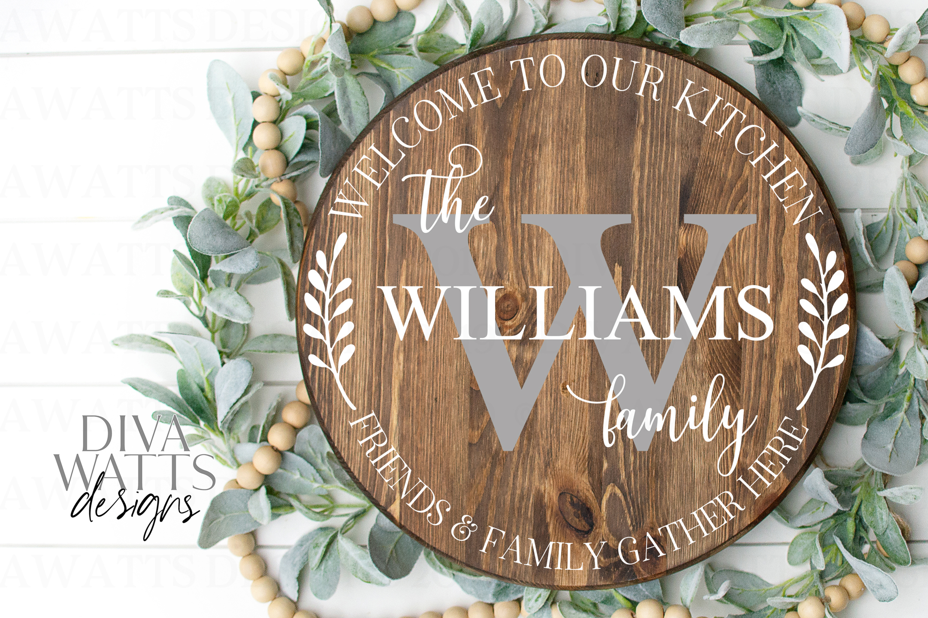 Kitchen Monogram Sign - Friends & Family Gather Here - SVG example image 2