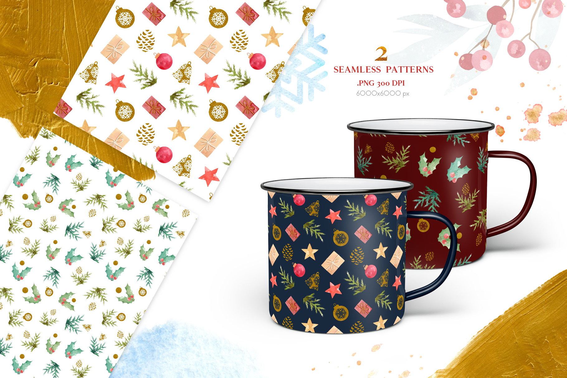 Merry Christmas Watercolor Design Set example image 7
