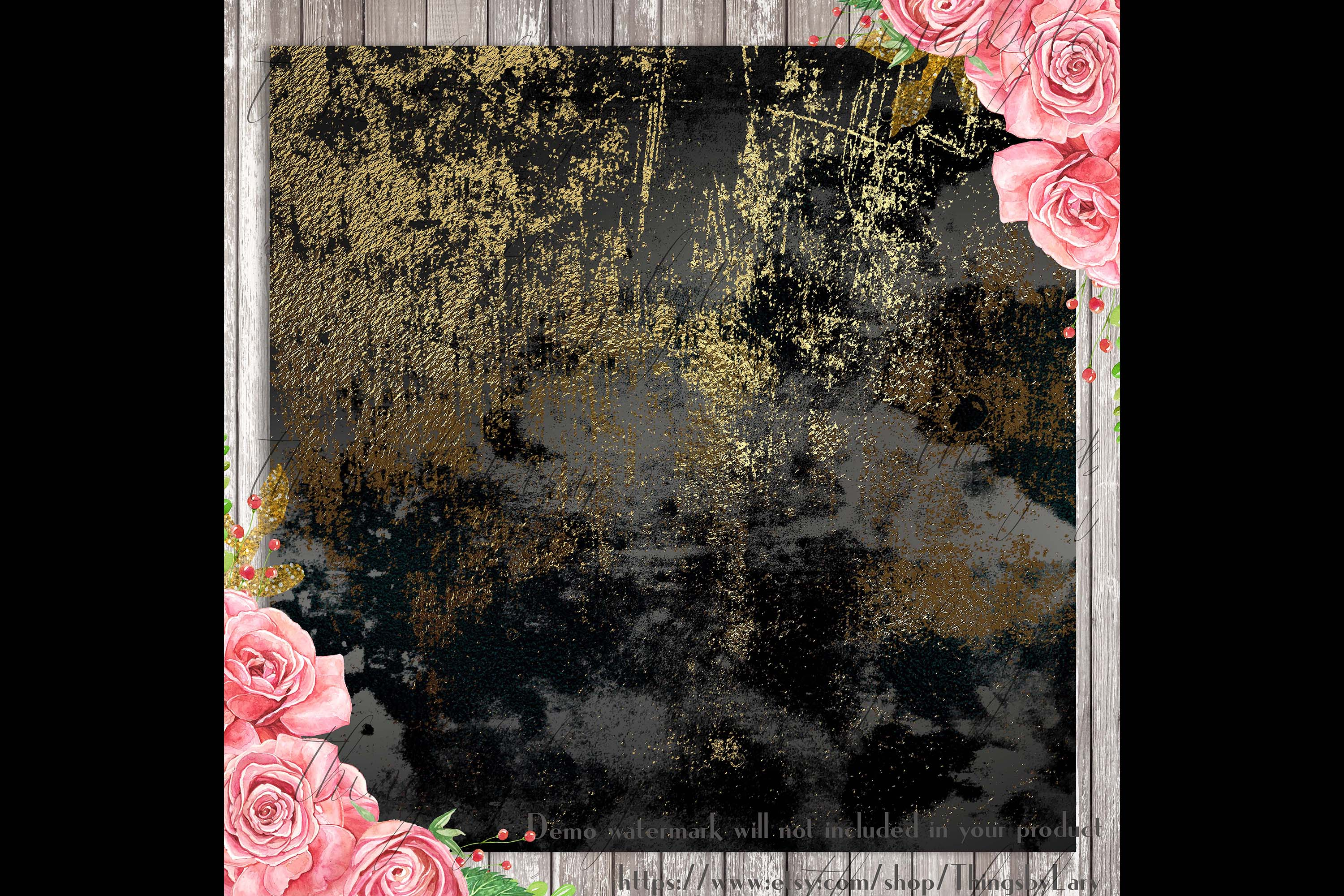 16 Distressed Metallic Gold Foil and Black Digital Papers example image 3