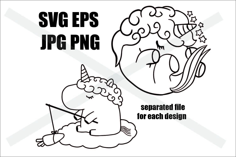 Unicorn Set B - SVG-EPS-JPG-PNG example image 1