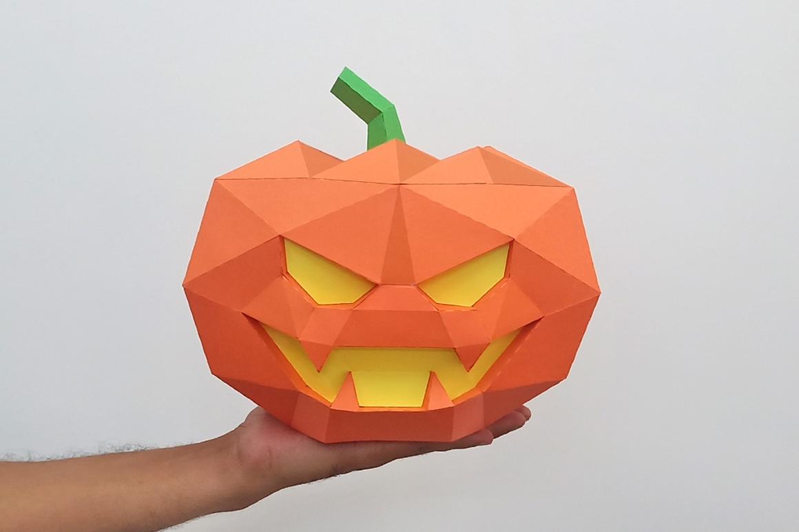 DIY Halloween Pumpkin lamp - 3d papercraft example image 7