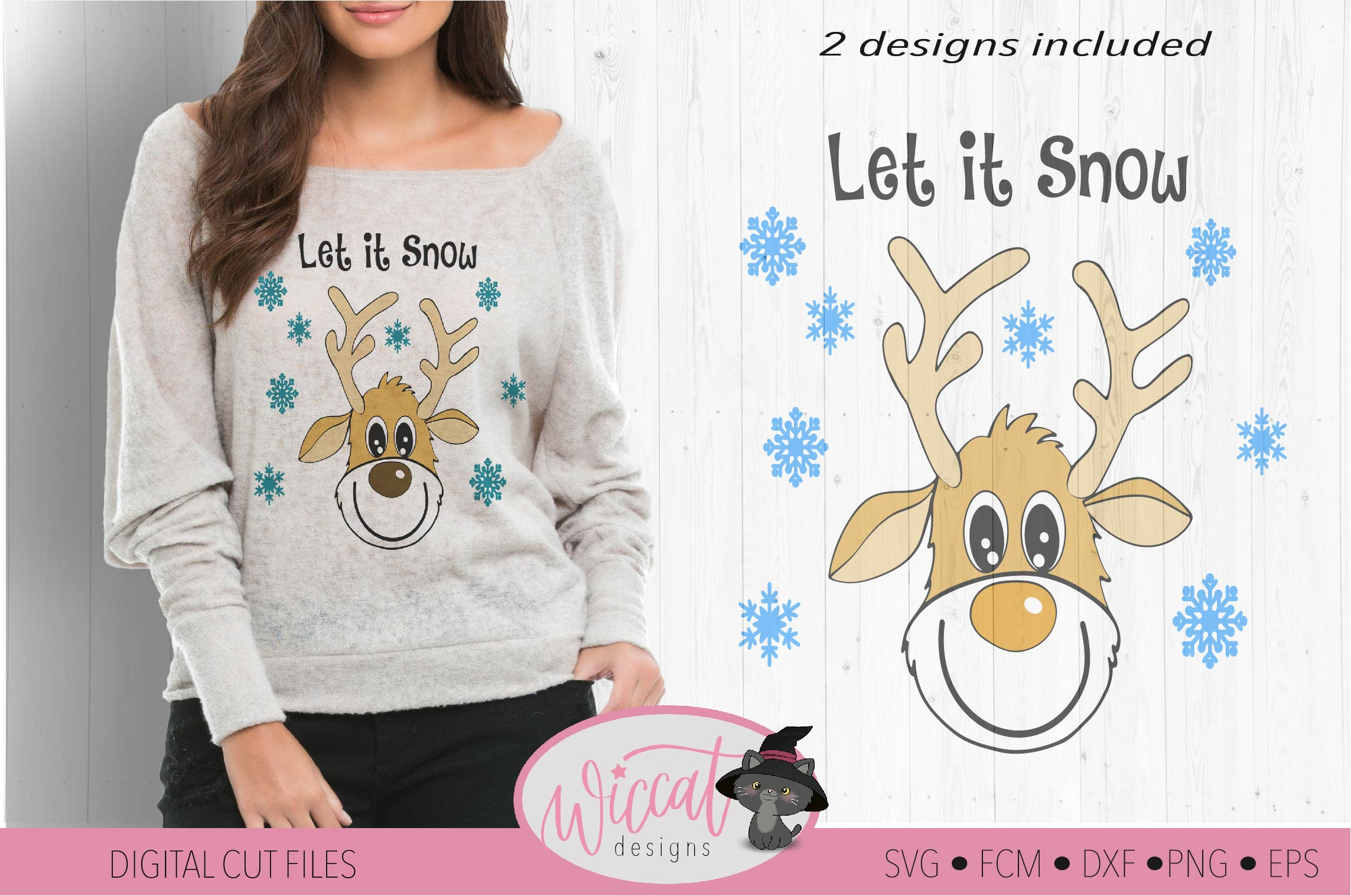 Funny Reindeer svg, deer svg, Christmas sweater svg example image 2
