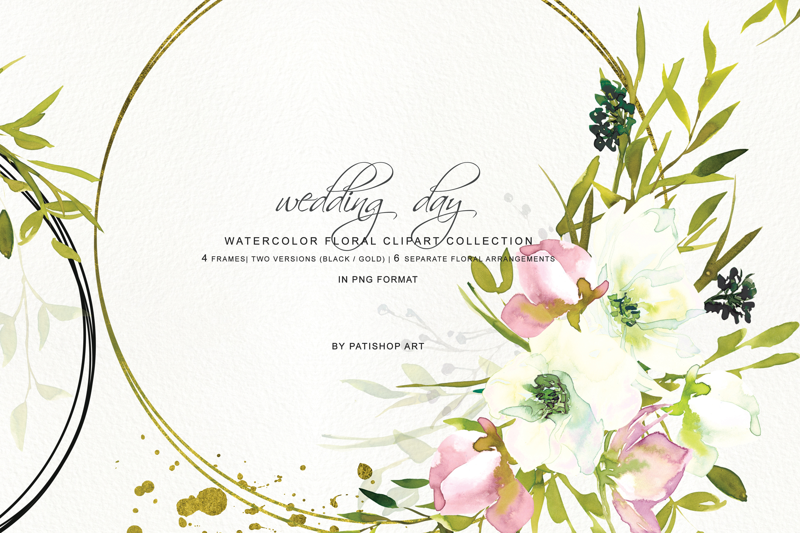 Hand Painted Watercolor Blush and White Rose Clipart example image 7