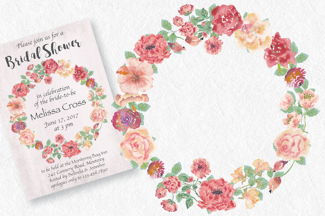 Watercolor wreath of vintage roses example image 2