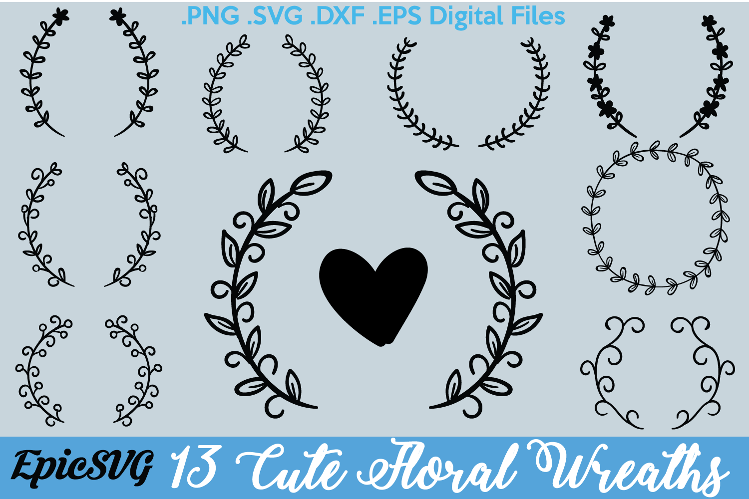 13 Floral Wreath Designs | .SVG .DXF .EPS | Wedding Gift Frame Cutting Digital Files example image 1