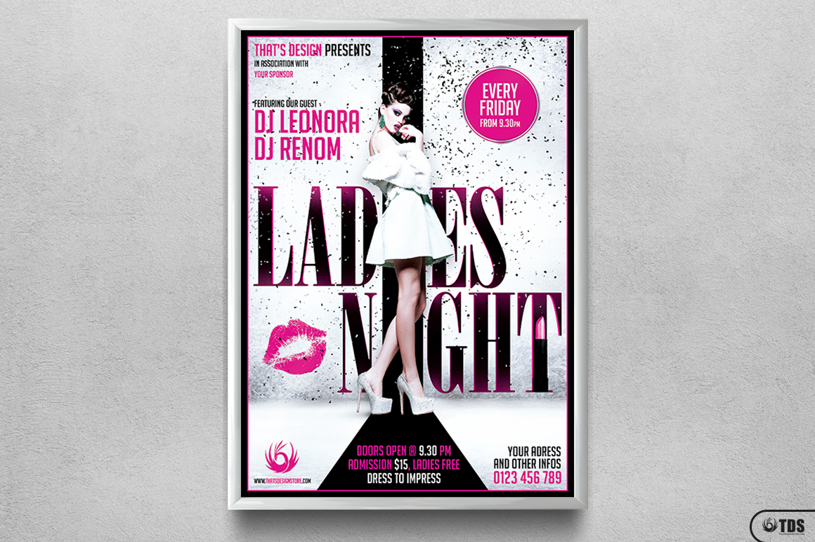 Ladies Night Fyer Poster Template V1 example image 6