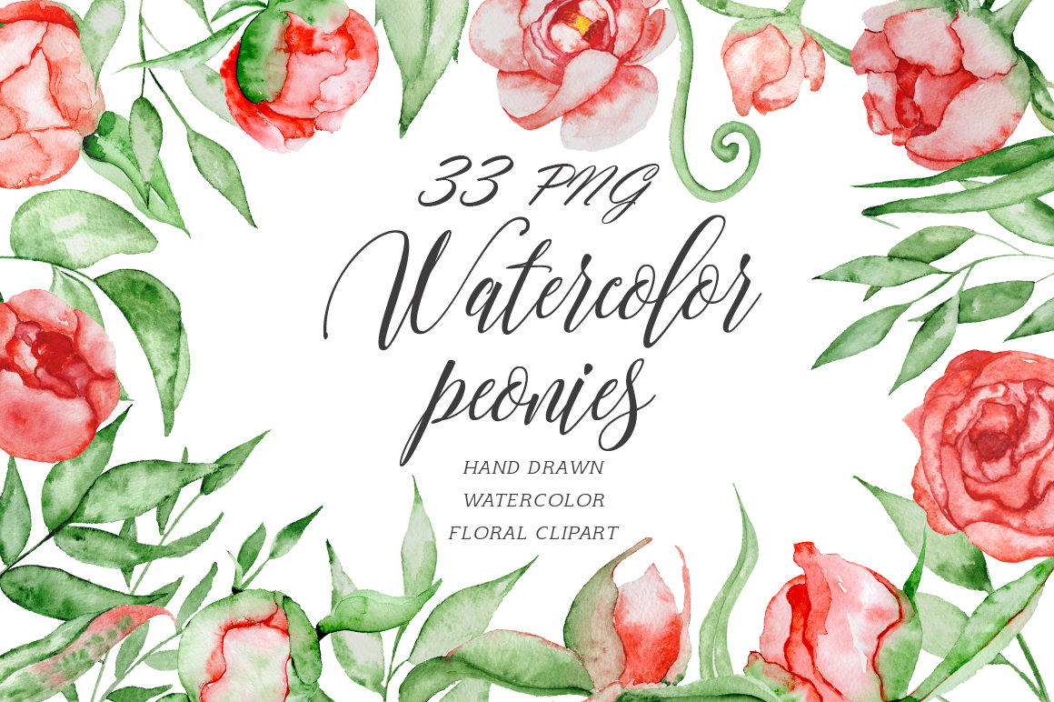 Watercolor red romantic peonies clipart Floral elements example image 1