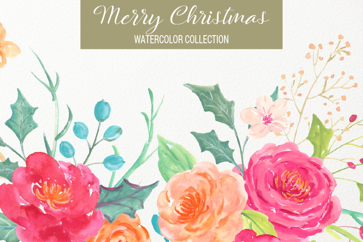 Merry Christmas Watercolor Collection example image 2
