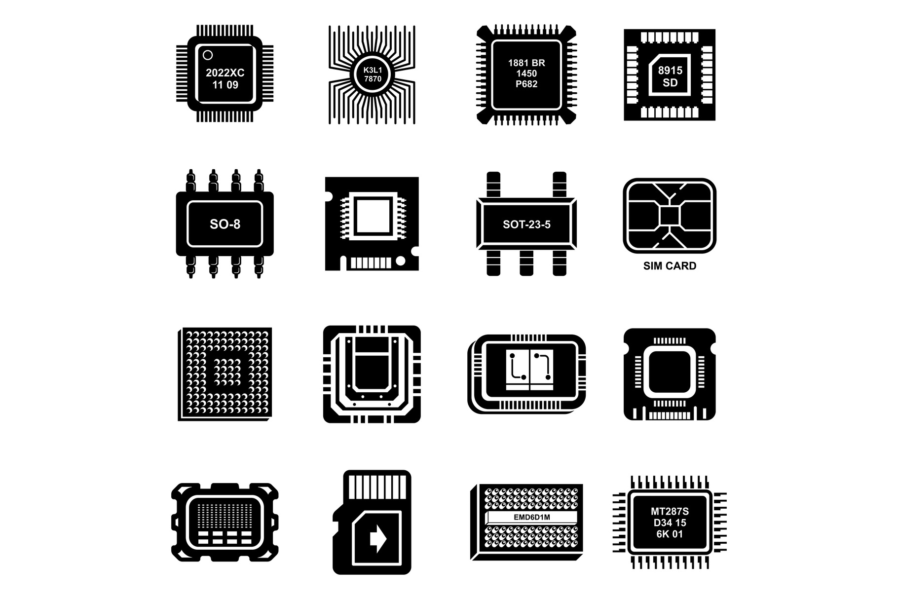 Computer chips icons set, simple style example image 1