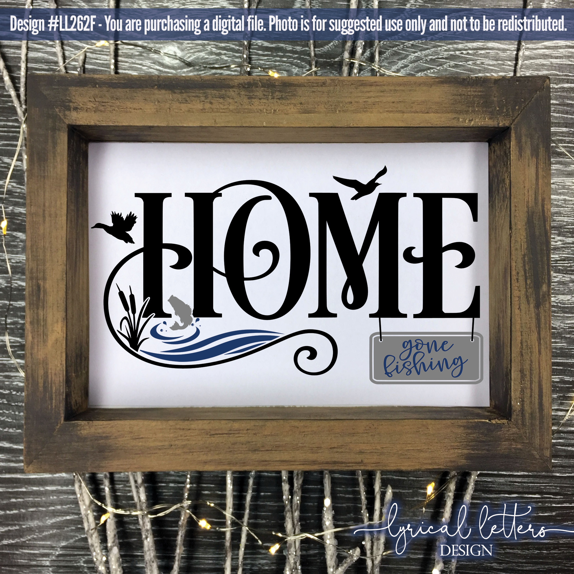 NEW! Lake House Home with Gone Fishing Sign SVG DXF LL262F example image 2