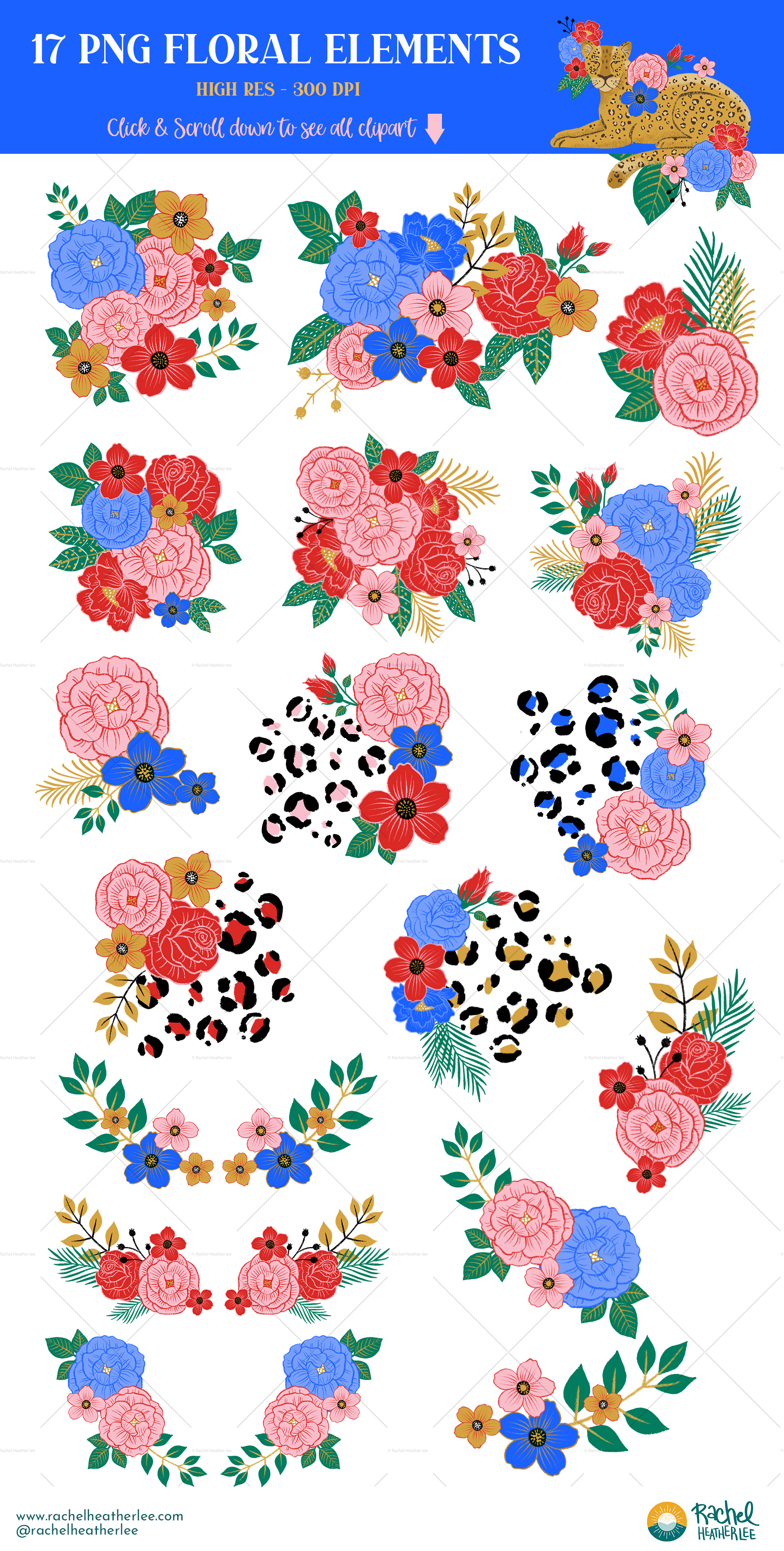 Leopard Floral Clipart & Patterns example image 3
