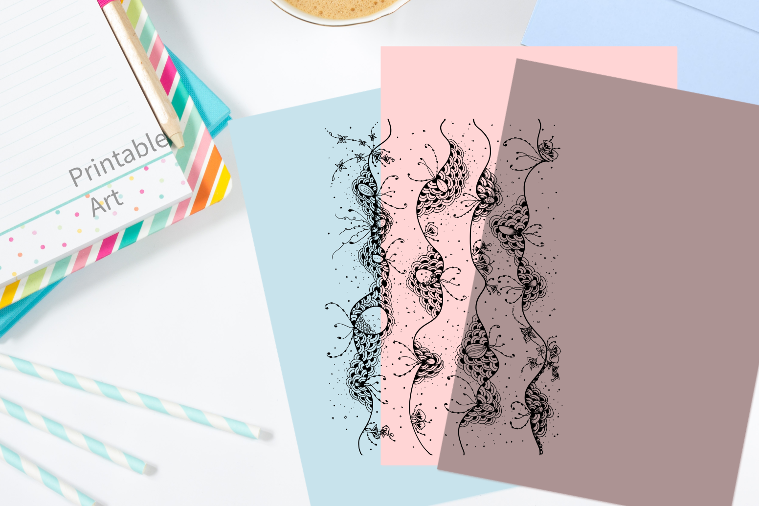 Abstract Floral Art, A1, SVG example image 4