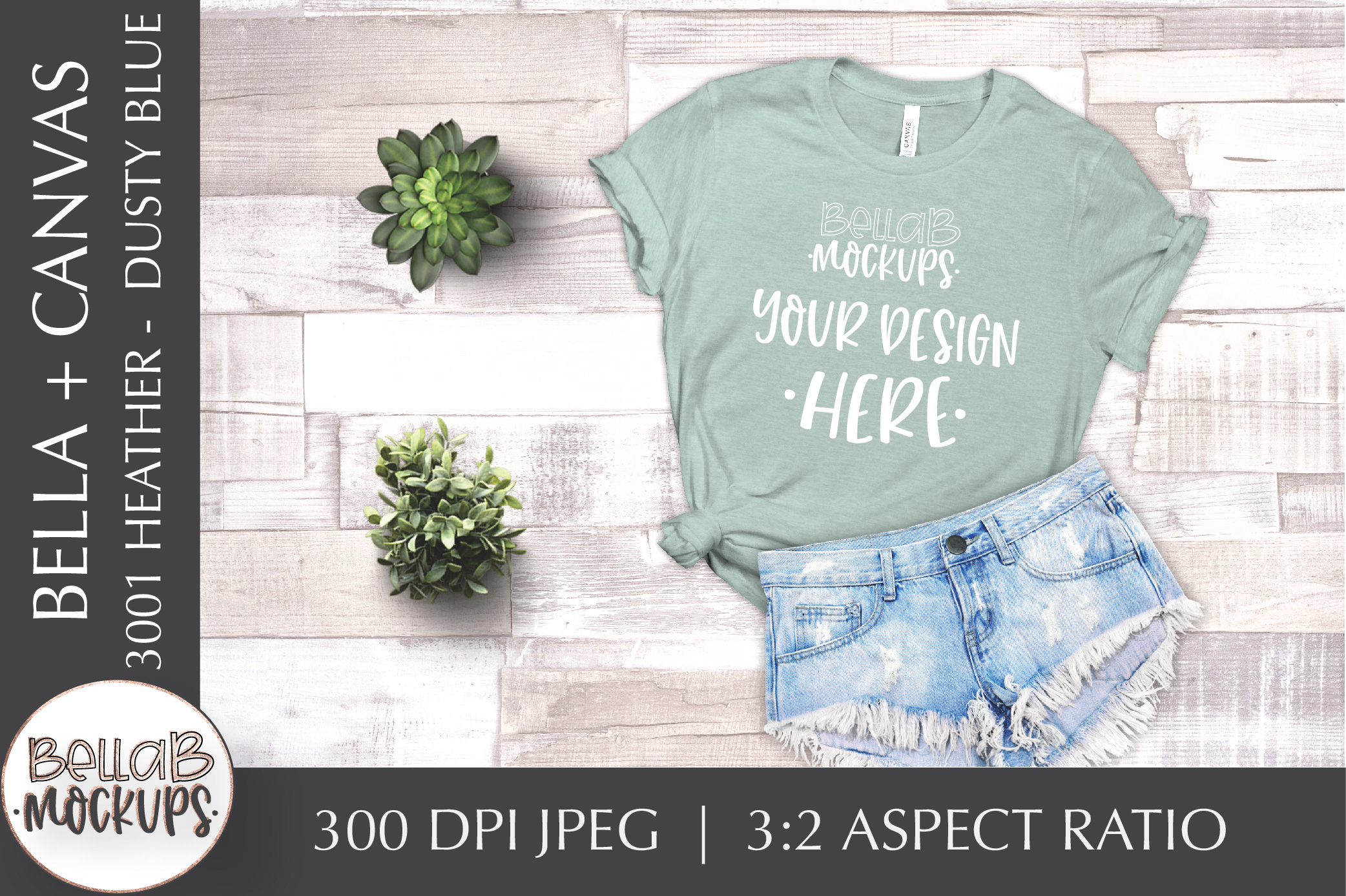 Bella Canvas T Shirt Mockup Bundle, Heather 3001, Summer example image 3