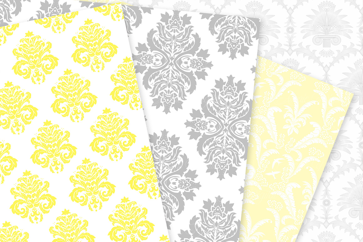 28 Yellow and Gray Damask Patterns - Seamless Digital Papers Bundle example image 4