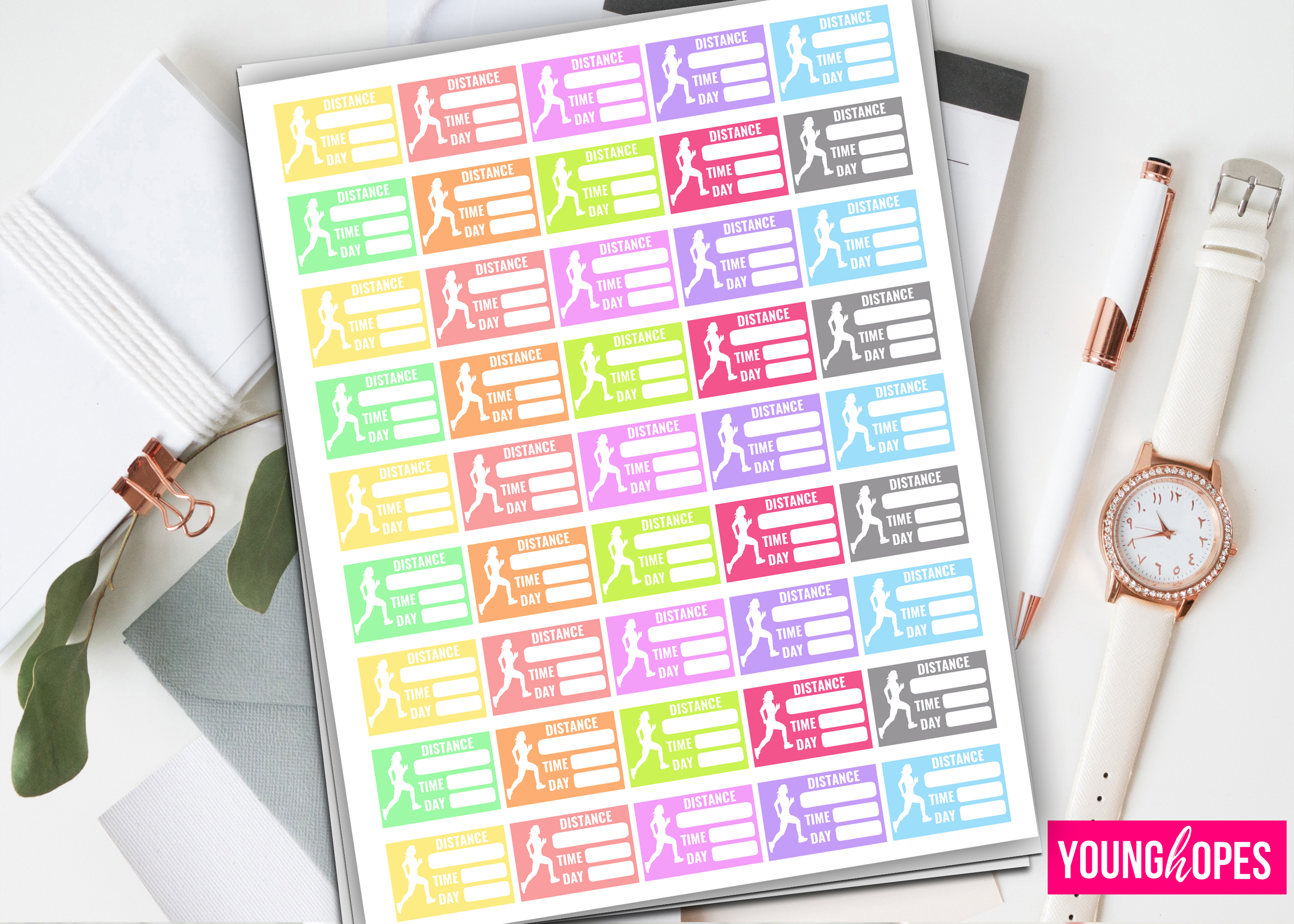 Running Planner Stickers-Half Box Planner Stickers- example image 1