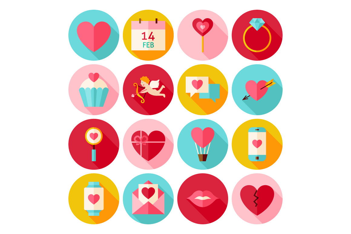 Valentine Day Vector Flat Icons example image 2