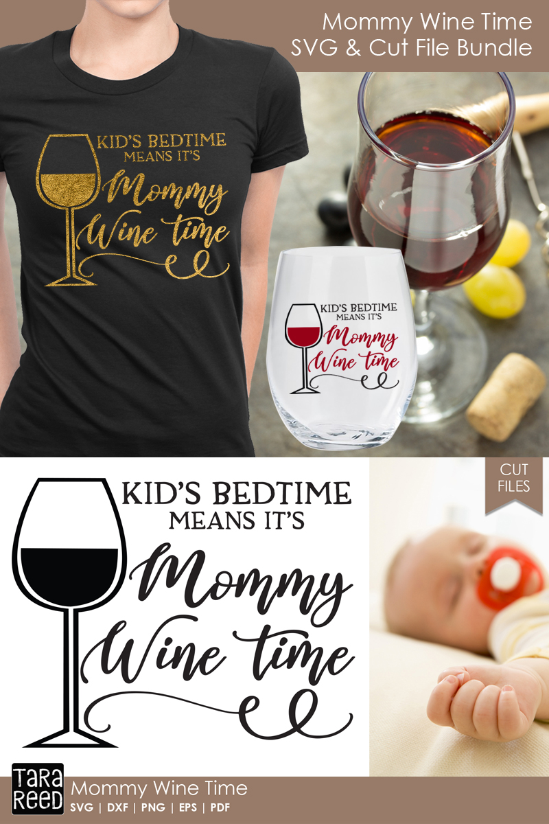 Mommy Wine Time - Wine SVG and Cut Files for Crafters example image 3