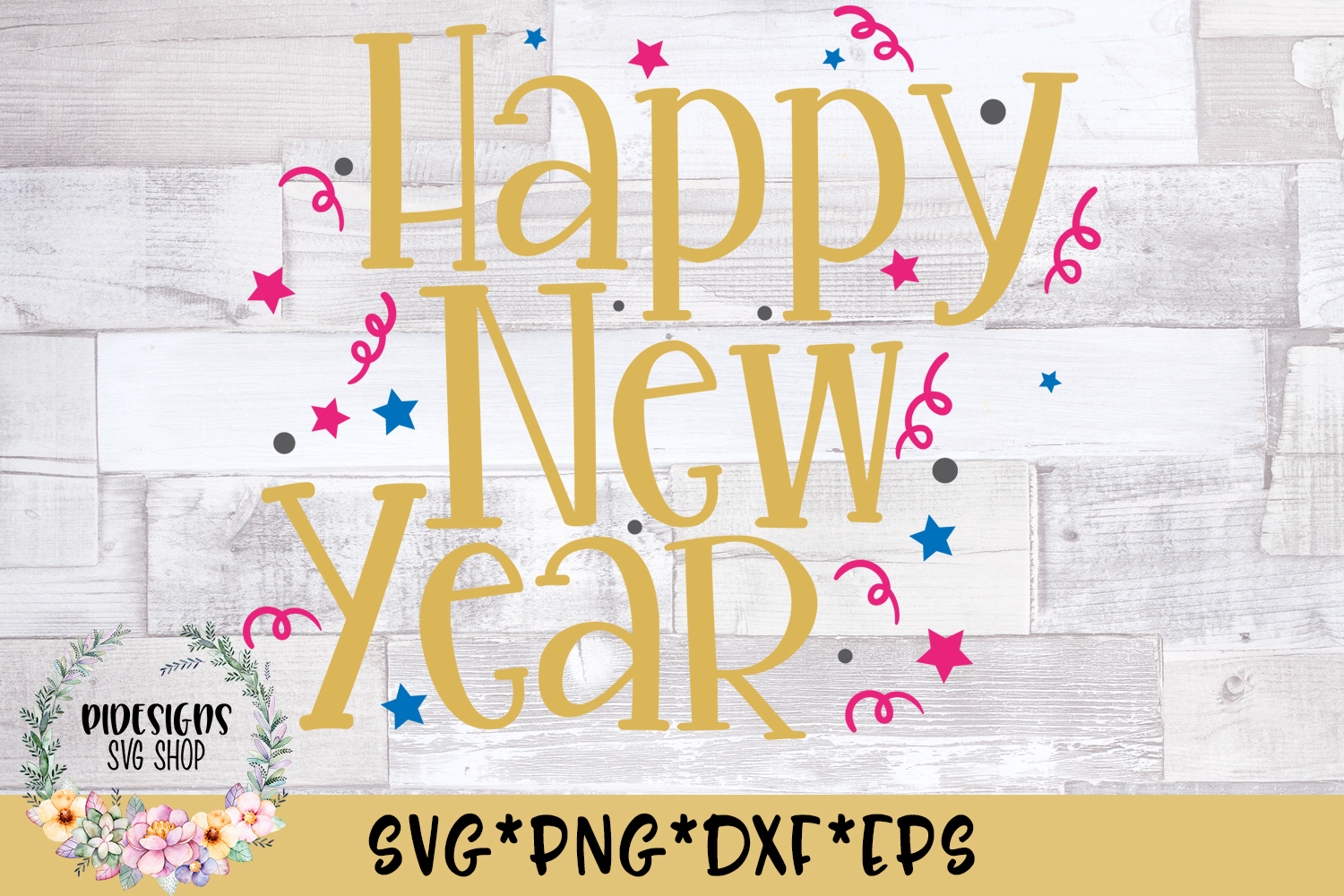 Happy New Year Celebrate SVG Cut File example image 1