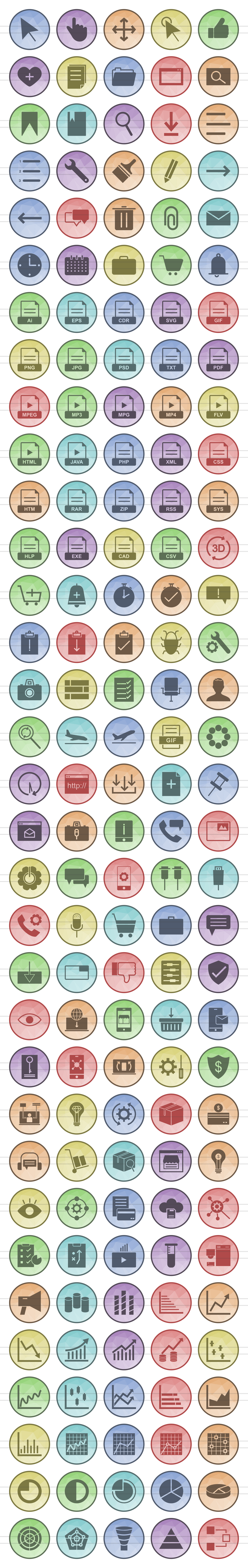 166 Interface Filled Low Poly Icons example image 2